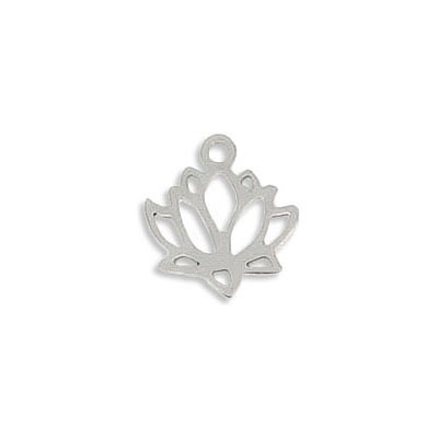 Metal pendant, 14x11mm, lotus, stainless steel
