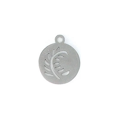 Metal pendant, 14mm, round, with leaf cutout, stainless steel