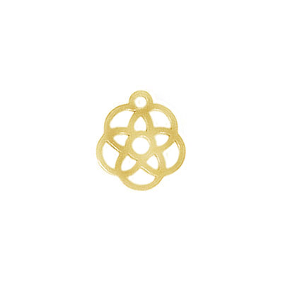 Metal pendant, 12mm, round, laser cut flower, 304, stainless steel, gold plate