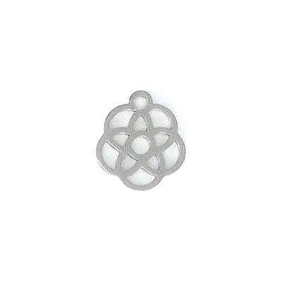 Metal pendant, 12mm, flower charm, stainless steel