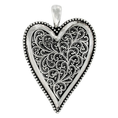Metal pendant, heart, 50x40mm, antique silver. Sold per pack of 3. (SKU# MP10357/OXWH)