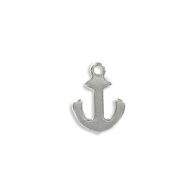 Metal pendant, 11x9mm, anchor, thickness 1mm, hole 1.2mm, stainless steel