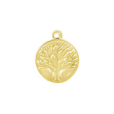 Metal pendant, 13x15.5mm, tree of life, thickness 3mm, hole 1.40mm, stainless steel, gold plate