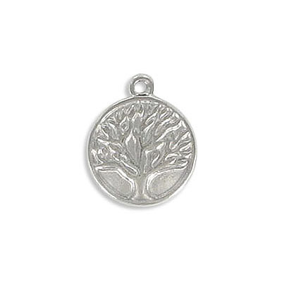 Metal pendant, 13x15.5mm, tree of life, thickness 3mm, hole 1.40mm, stainless steel