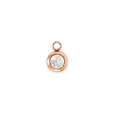 Metal pendant, 9x6.5x4.5mm, charm with crystal, stainless steel, rose gold vacuum plate