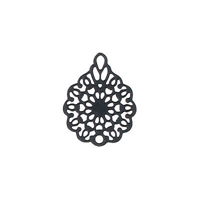 Metal pendant, 16x12mm, flower filigree, brass base, black