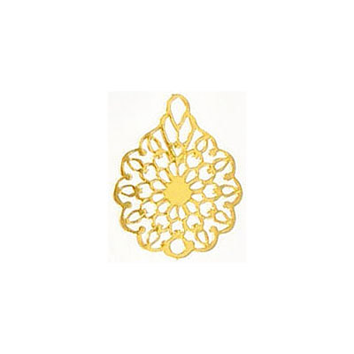 Metal pendant, 16x12mm, flower filigree, brass base, gold electro plate