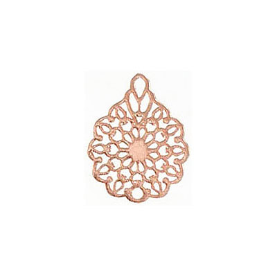 Metal pendant, 16x12mm, flower filigree, brass base, rose gold electro plate