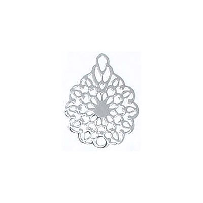 Metal pendant, 16x12mm, flower filigree, brass base, rhodium imitation