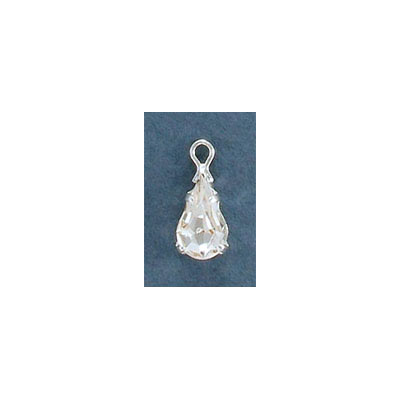 Metal pendant, setting with loop, 10x6mm, pear-shaped crystal, silver plate