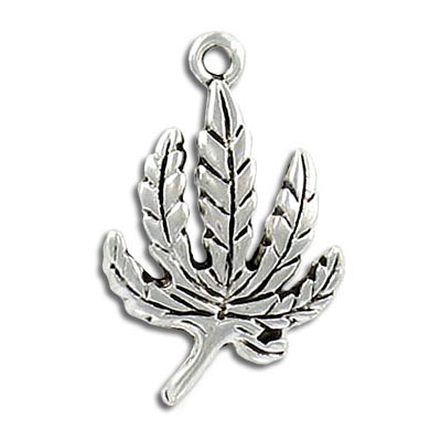 Metal leaf pendant, antique silver, lead safe