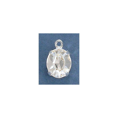 Metal pendant, setting with loop, 12x10mm, oval crystal, silver plate