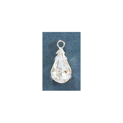 Metal pendant, setting with loop, 13x7mm, pear-shaped crystal, silver plate