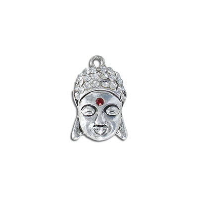 Metal pendant, 24mm, buddha, antique silver, with stones