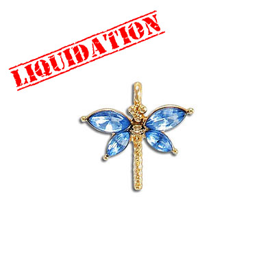 Metal pendant, 20mm, dragonfly, gold plate, with light sapphire
