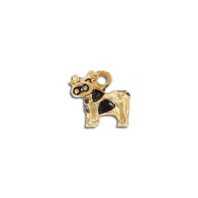 Metal pendant, 14x13mm, cow charm, gold with black