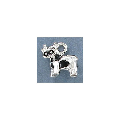 Metal pendant, 14x13mm, cow charm, silver with black