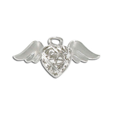 Metal pendant, 20x40mm, heart and wings, rhodium imitation