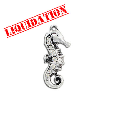 Metal pendant, 28x13mm, seahorse charm with crystal, antique silver