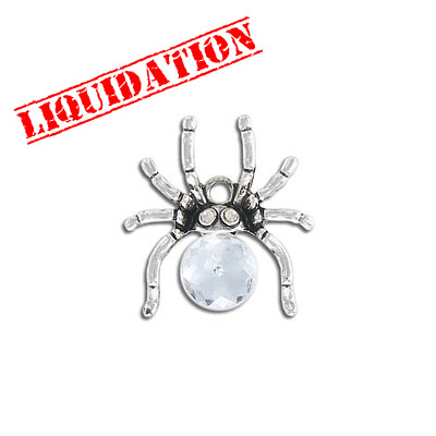 Metal pendant, 25x24mm, spider charm with crystal, antique silver