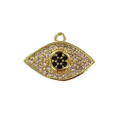 Metal pendant, 14x10mm, evil eye charm, brass core, paved crystal cubic zirconia, gold plate