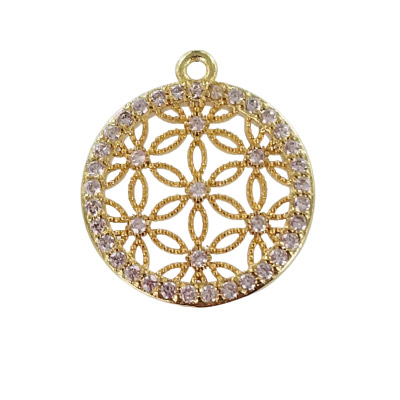 Metal pendant, 20x18mm, flower of life, brass core, paved crystal cubic zirconia, gold plate