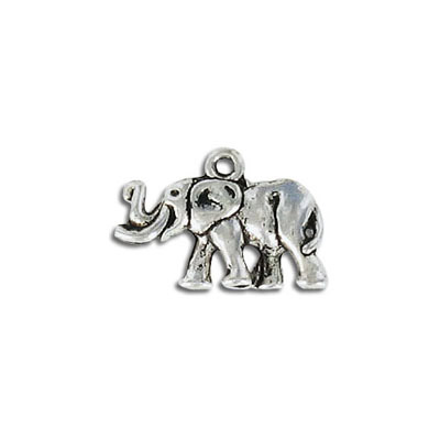 Metal pendant, elephant charm, antique silver