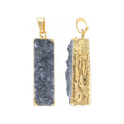 Metal pendant, 10x35mm, rectangle, hematite druzy, gold plate