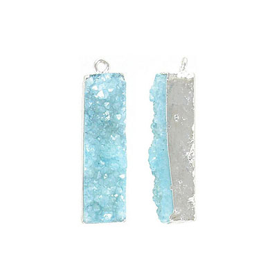 Metal pendant, 10x35mm, rectangle, sky blue druzy, rhodium imitation