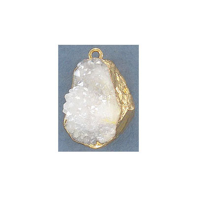 Metal pendant, 20x35mm, white iris druzy, gold plate