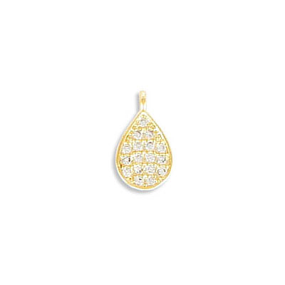 Metal pendant, 10x6mm, drop, brass core, cubic zirconia pave, gold plate, approx.hole size 1mm