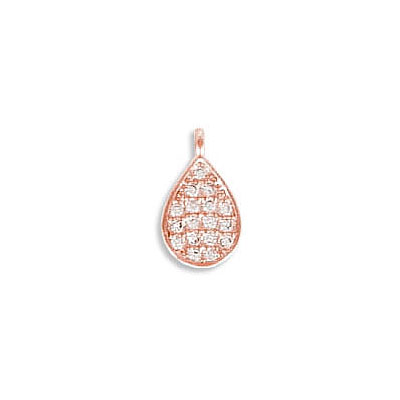 Metal pendant, 10X6mm, drop, brass core, cubic zirconia pave, rose gold plate, approx. hole size 1mm