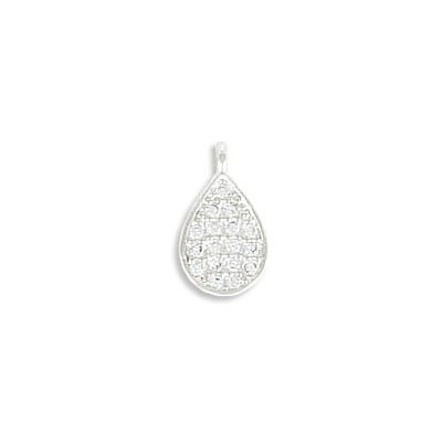 Metal pendant, 10X6mm, drop, brass core, cubic zirconia pave, rhodium imitation, approx. hole size 1mm