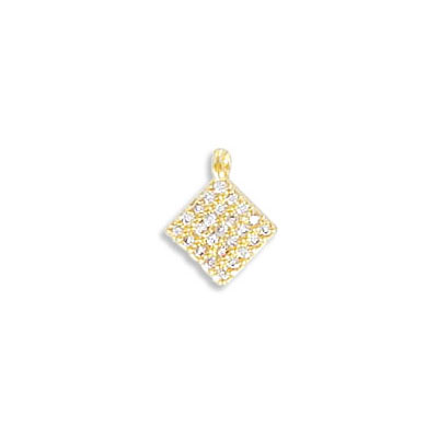 Metal pendant, 6x6mm, square, brass core, cubic zirconia pave, gold color, approx. hole size 1mm