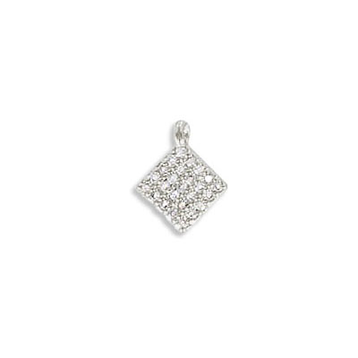 Metal pendant, 6x6mm, square, brass core, cubic zirconia pave, rhodium imitation, approx.hole size 1mm