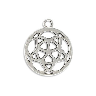 Metal pendants, 22mm, round flower, zamak (zinc alloy), antique silver