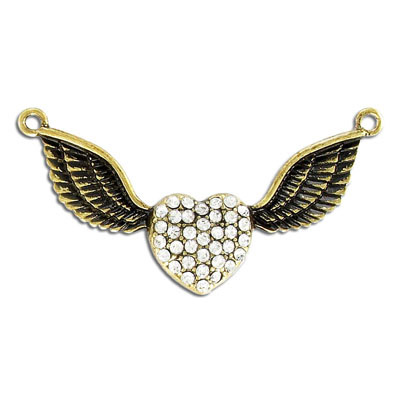 Metal pendant, heart and wings with crystals, antique brass, lead safe