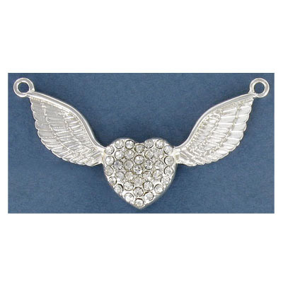Metal pendant, heart and wings with crystals, silver plate, lead safe