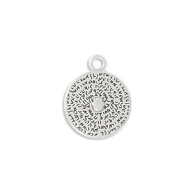 Metal pendants, 15mm, round, zamak (zinc alloy), antique silver