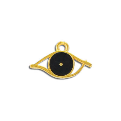Metal pendant, 25x15mm, zinc alloy, evil eye charm, enamel, black, gold plate