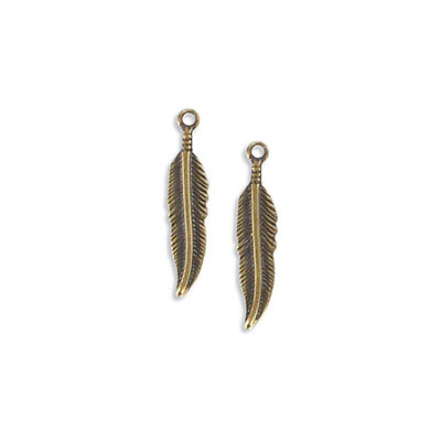 Metal pendant, 19mm, feather charm, antique brass plate