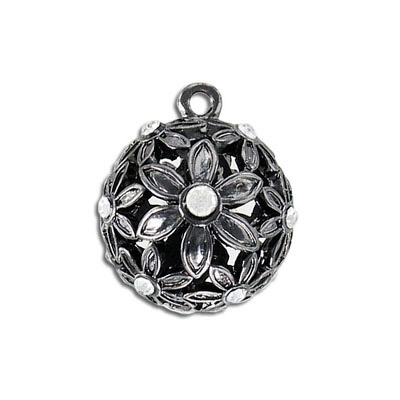 Metal pendant, 25mm, ball with flowers and crystals, black nickel finish