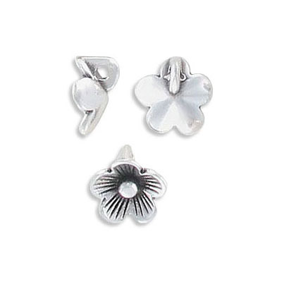 Metal pendant, 9mm, flower charm, approx. hole size 1.50mm, zamak (zinc alloy), antique silver
