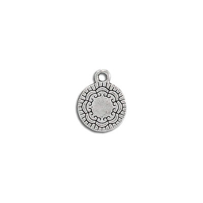 Metal pendant, 12mm, round charm, antique silver