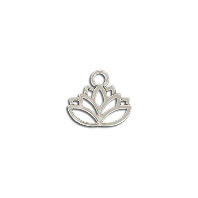 Metal pendant, 17mm, lotus charm, hollow, zamak (zinc alloy), antique silver