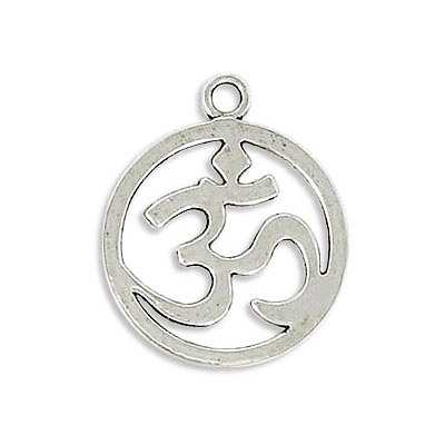 Metal pendant, 19mm, round, Om pendant, zamak (zinc alloy), antique silver