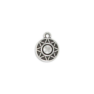 Metal pendant, 13mm, round, ethnic charm, zamak (zinc alloy), antique silver