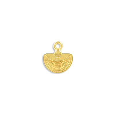 Metal pendant, 12x10mm, ethnic charm, semi-circle, zamak (zinc alloy), gold plate