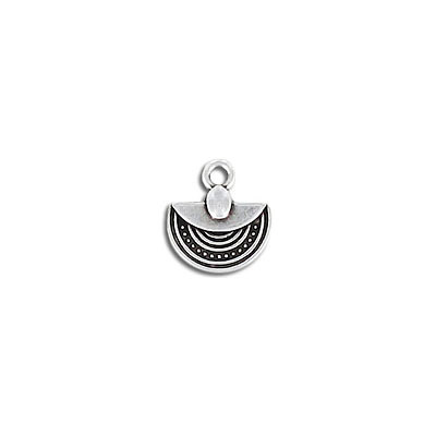 Metal pendant, 12x10mm, ethnic pendant, semi-circle, zamak (zinc alloy), antique silver