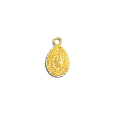 Metal pendant, 13x10mm, ethnic drop, zamak (zinc alloy), gold plate